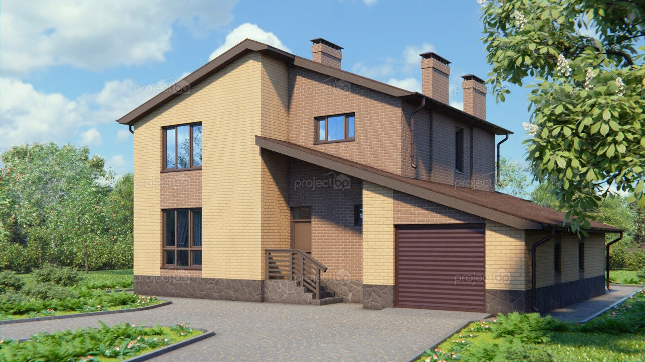 Проект двухэтажного дома в современном стиле с гаражом 190-A